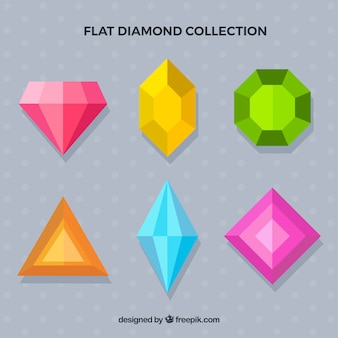 Collection of gemstones in flat design