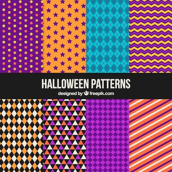 Collection of geometric halloween patterns