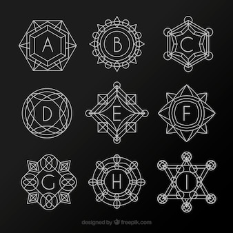 Collection of geometric shapes monograms