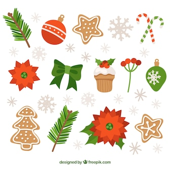 Collection of gingerbread cookies and christmas ornaments