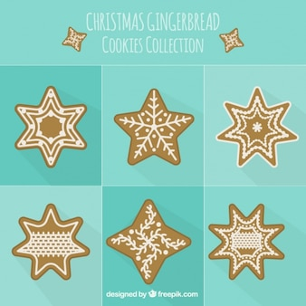 Collection of gingerbread snowflakes