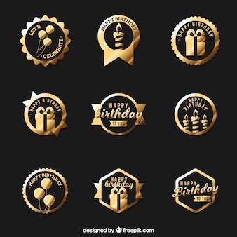 Collection of golden birthday badge