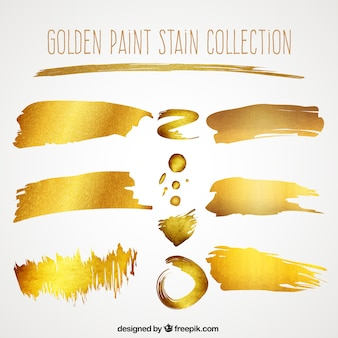 Collection of golden brush stroke