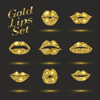 Collection of golden lips