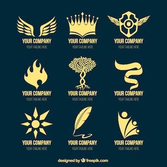 Collection of golden logos