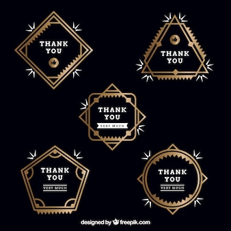 Collection of golden thank you stickers