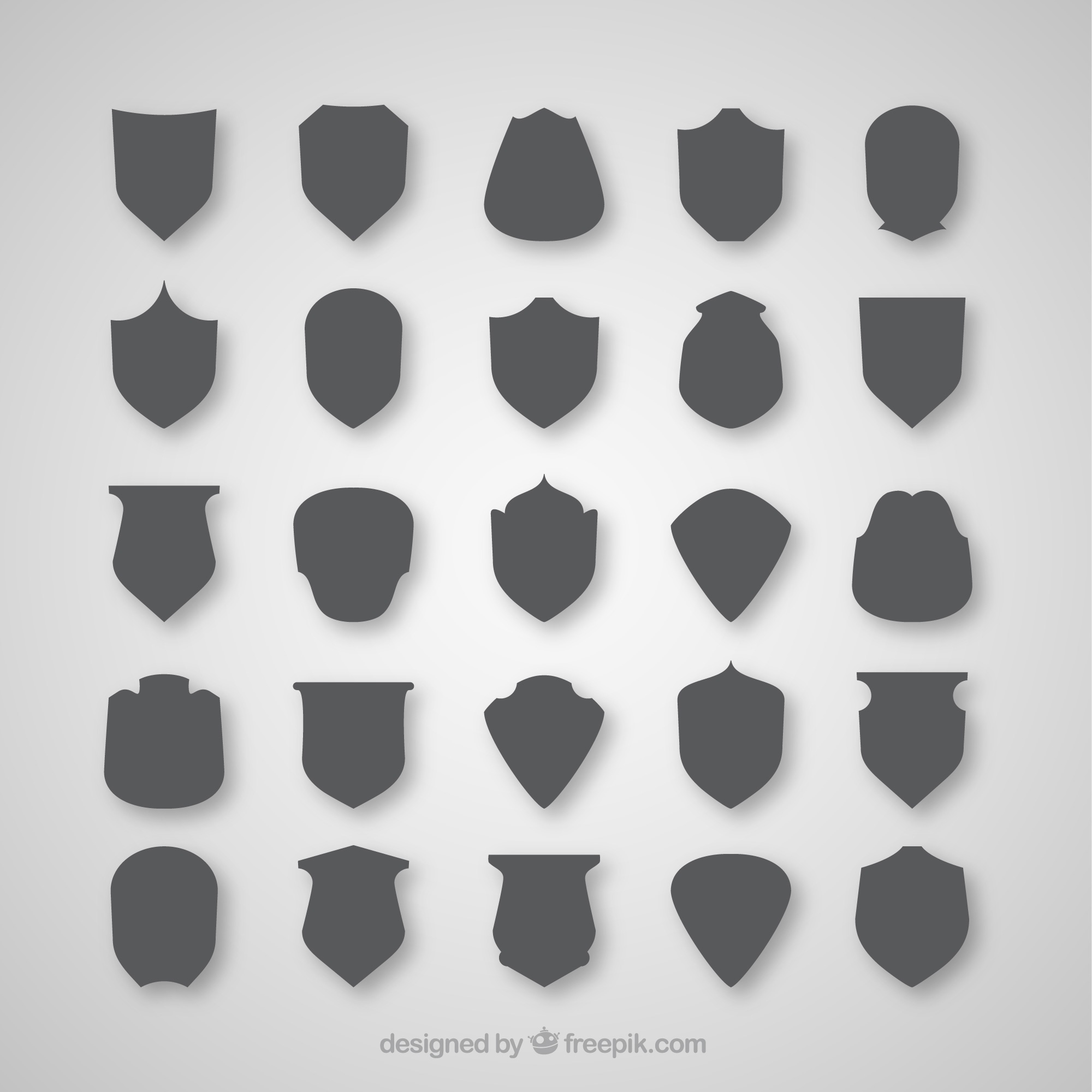 Collection of gray shield silhouettes