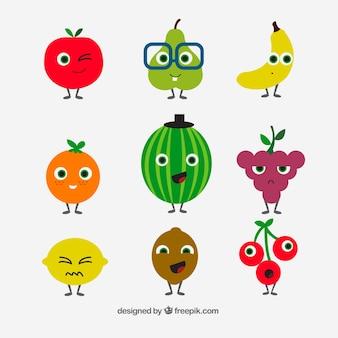 フラットデザインでの偉大なフルーツキャラクターのコレクション