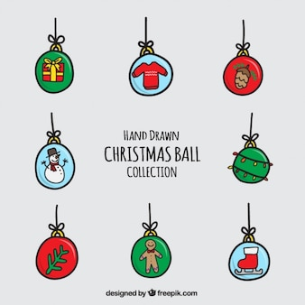 Collection of great hand-drawn christmas balls
