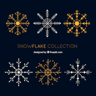 Collection of great snowflakes in flat design