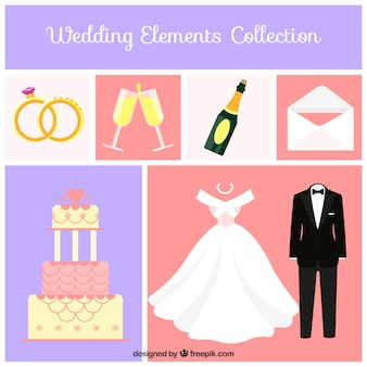 Collection of great wedding elements in flat design