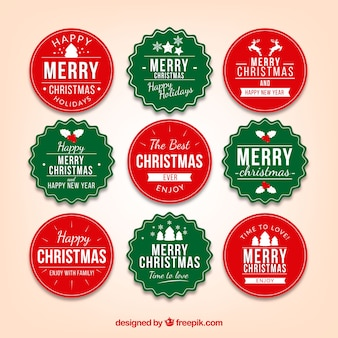 Collection of green and red christmas badge