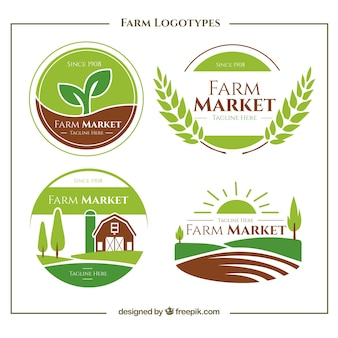 Collection of green farm logo