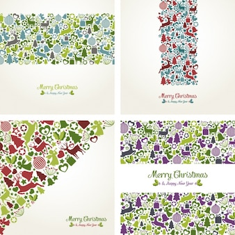 Collection of greeting cards with christmas elements
