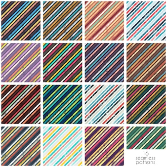 Collection of grunge stripes seamless patterns. Printed retro hand drawn backgrounds. Abstract ink, paint striped wallpapers.