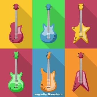 さまざまな形のギターのコレクション