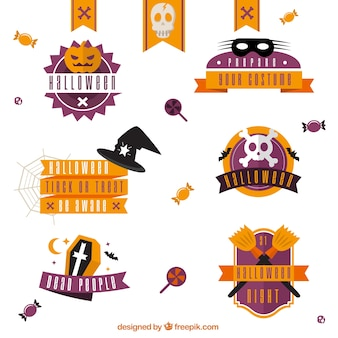 Collection of halloween badges in orange and purple colors