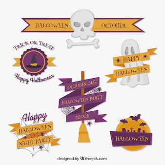 Collection of halloween badges with decorative ribbons