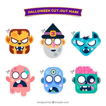 Collection of halloween character mask in flat design