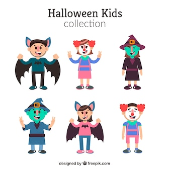 Collection of halloween children in flat design