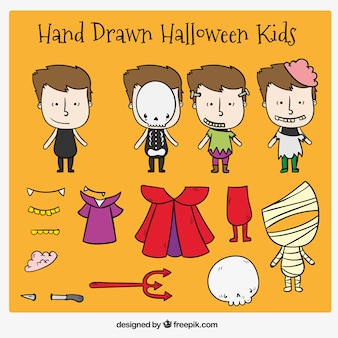 Collection of halloween costumes for kids