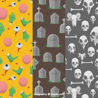 Collection of halloween patterns in flat style