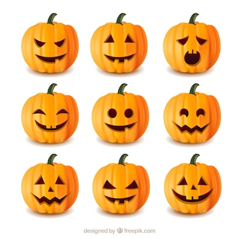 Collection of halloween pumpkins