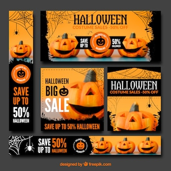 Collection of halloween sale banner