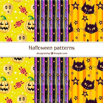 Collection of halloween watercolor pattern