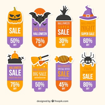 Collection of hallowen sale stickers in flat design