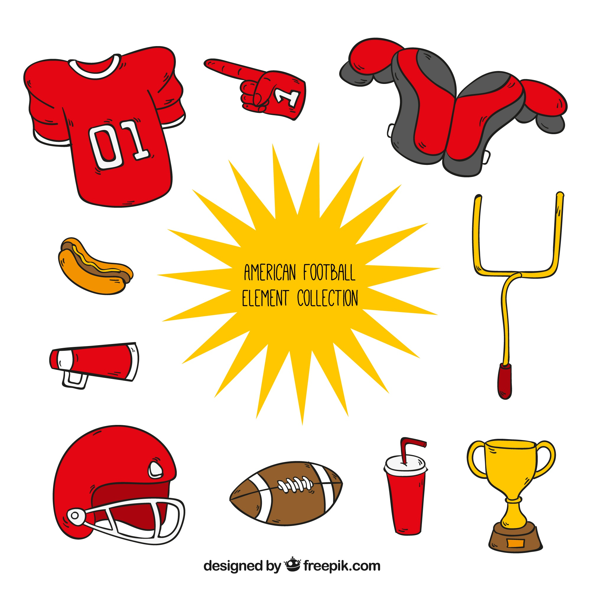 Collection of hand drawn american football accessories