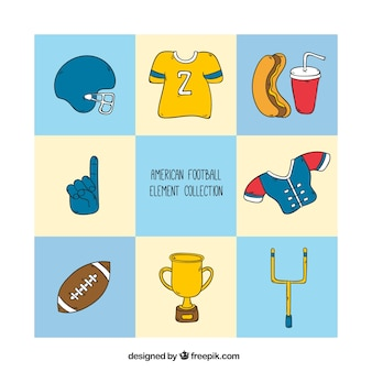 Collection of hand drawn american football elements