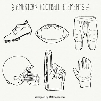 Collection of hand-drawn american football items
