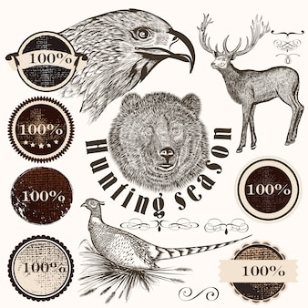 Collection of hand-drawn animals and retro stickers