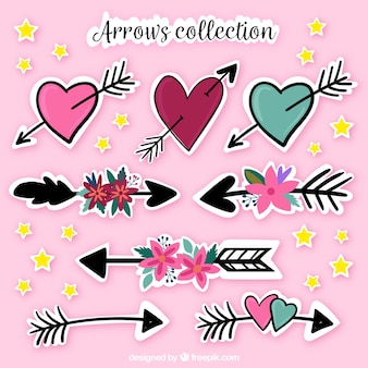 Collection of hand drawn arrow and heart