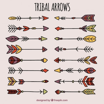 Collection of hand drawn arrows in tribal style
