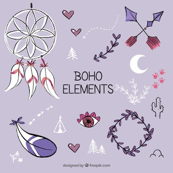 Collection of hand drawn boho element
