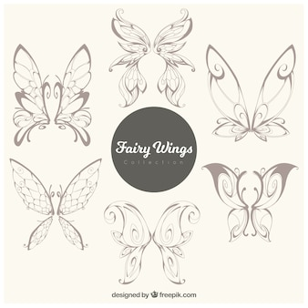 Collection of hand-drawn butterflies