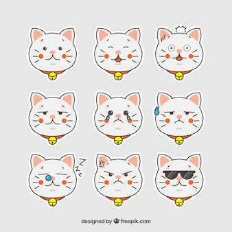 Collection of hand drawn cat emoticon