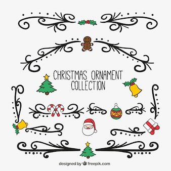 Collection of hand drawn christmas ornaments