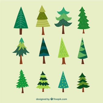 Collection of hand-drawn christmas trees