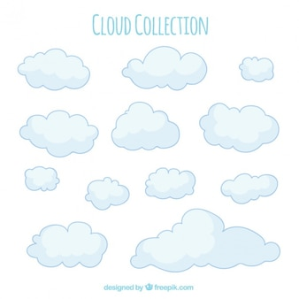 Collection of hand drawn clouds in soft tones