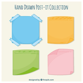Collection of hand-drawn colored post-it