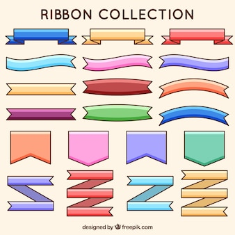 Collection of hand drawn colored ribbons