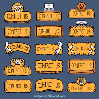 Collection of hand drawn contact web buttons