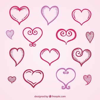 Collection of hand drawn decorative hearts