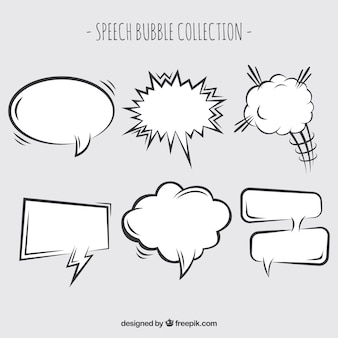 Collection of hand drawn dialog balloons