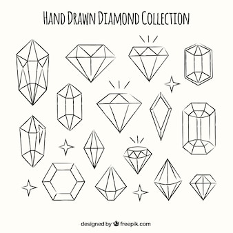 Collection of hand-drawn diamonds