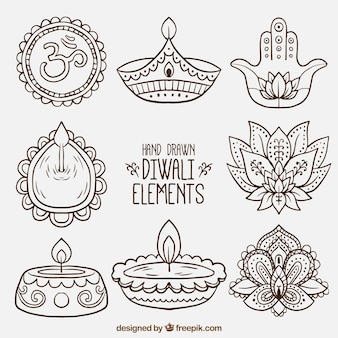 Collection of hand drawn diwali decorative elements