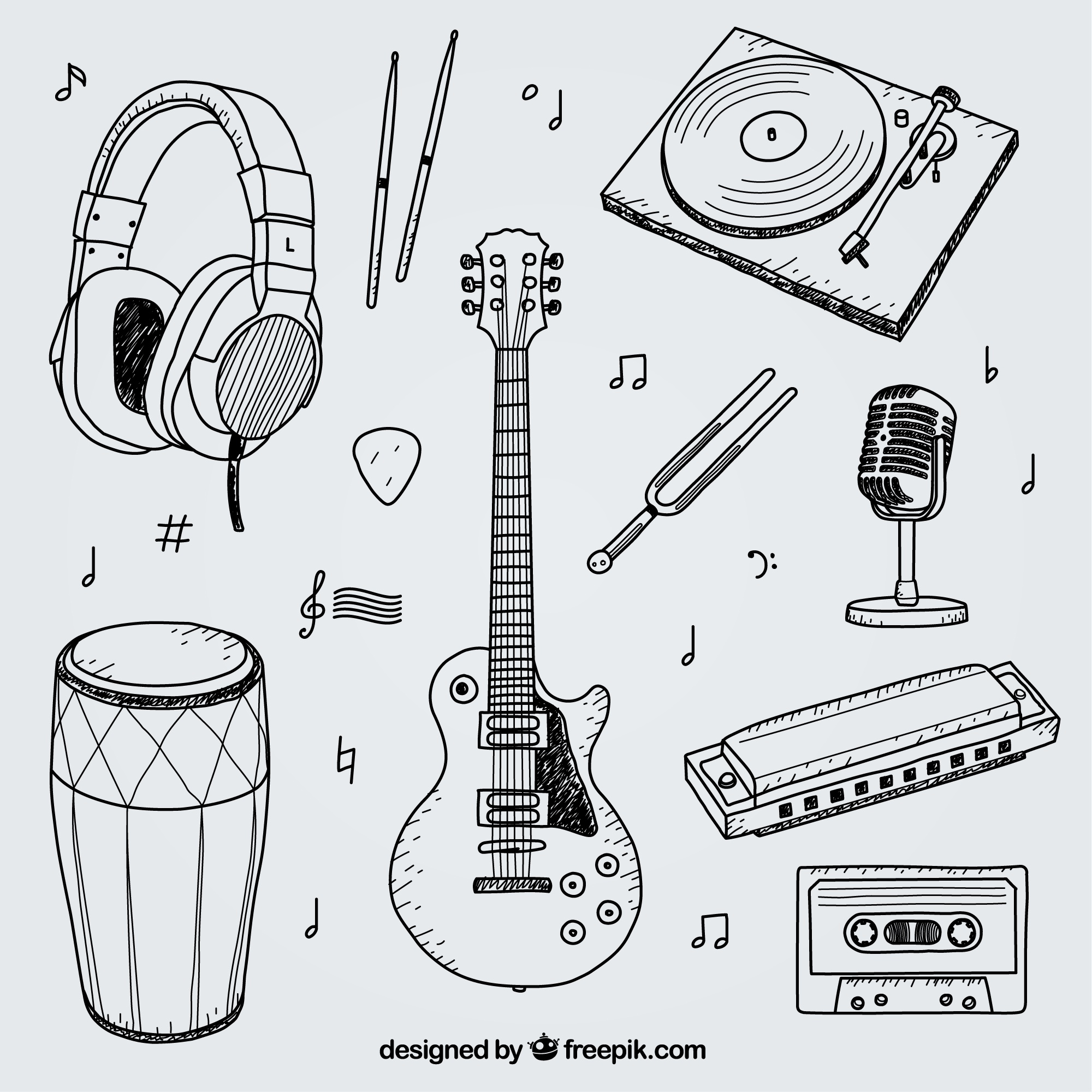 Collection of hand drawn elements for a music studio